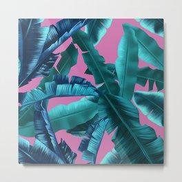 tropical banana leaves pattern pink Metal Print
