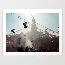 boudhanath stupa in kathmandu. Art Print