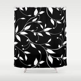FLOWERY VINES | black white Shower Curtain