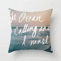 leah flores Throw Pillows featuring The Ocean is Calling by Laura Ruth and Leah Flores  by Laura Ruth