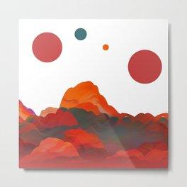 """Coral Sci-Fi Mountains"" Metal Print"