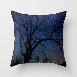 Black Trees Starry Night Throw Pillow