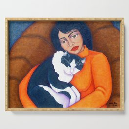 Cat Morgana with Woman Serving Tray