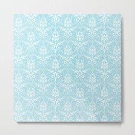 Vintage shabby chic blue white floral damask Metal Print