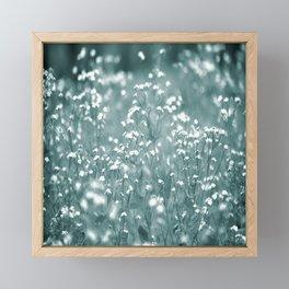 Tiny White Flowers Against Grey-Green Background #decor #society6 #buyart Framed Mini Art Print