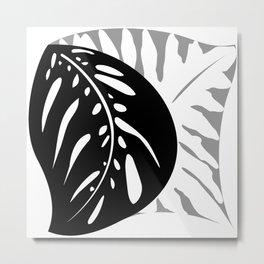 Tropical Leaves B&W, Gray Single Tessellation Metal Print
