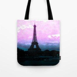 Paris Eiffel Tower : Lavender Teal Tote Bag