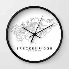 BRECKENRIDGE // Colorado Trail Map Black and White Lines Minimalist Ski & Snowboard Illustration Wall Clock