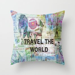 Travel The World Throw Pillow