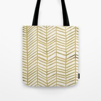 ink Tote Bags featuring Gold Herringbone by Cat Coquillette