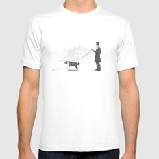 Walking the Dog  White Mens Fitted Tee MEDIUM