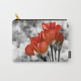 Living Coral Flowers Pop of Color Carry-All Pouch