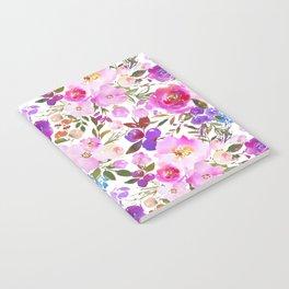 Elegant blush pink violet lavender watercolor summer floral Notebook