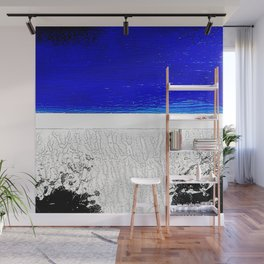 Blue river and a white landscape Wall Mural