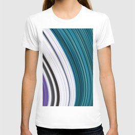 Purple Smooth Curved Aqua Contrast Colour T-shirt