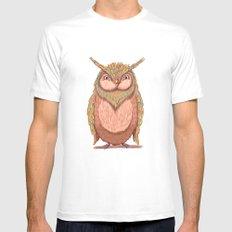 Owl White MEDIUM Mens Fitted Tee