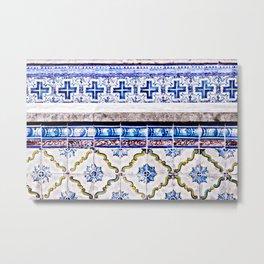 Portugal Tile, Azulejo Photo, Blue and White Lisbon Tiles Metal Print