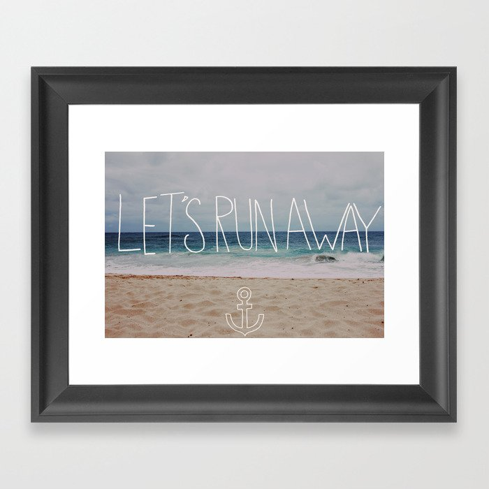 Let's Run Away: Sandy Beach, Hawaii Framed Art Print