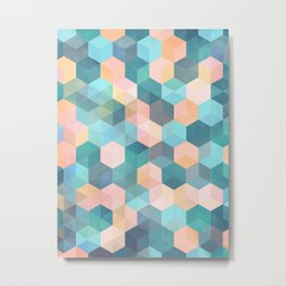 Child's Play 2 - hexagon pattern in soft blue, pink, peach & aqua Metal Print