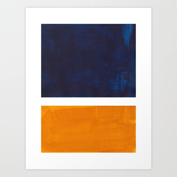 Navy Blue Yellow Ochre Abstract Minimalist Rothko Colorful Mid Century Color Block Pattern Kunstdrucke
