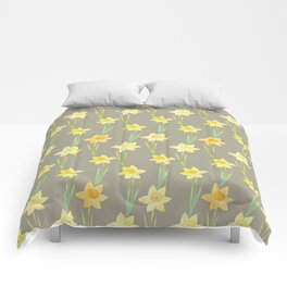 Yellow Watercolour Stemmed Daffodil Pattern Comforters