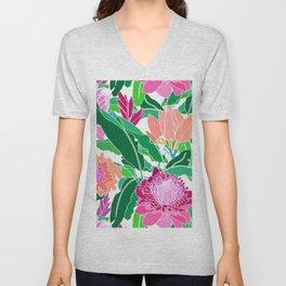 Bird of Paradise + Ginger Tropical Floral in White Unisex V-Neck