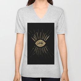 Evil Eye Gold on Black #1 #drawing #decor #art #society6 Unisex V-Neck