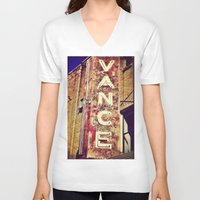 theater V-neck T-shirts featuring vintage theater sign by melissamartin