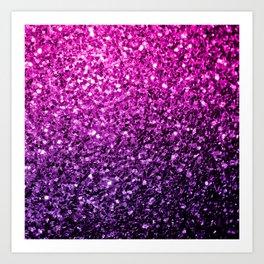 Purple Pink Ombre glitter sparkles Art Print