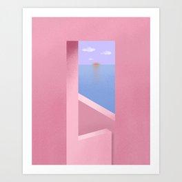 Minimal Pink Seaview Art Print