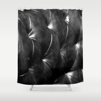 leather Shower Curtains featuring leather by the rogue sparrow