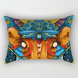 Holy Cow! Blue Lotus Mandala. Rectangular Pillow