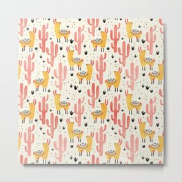 Yellow Llamas Red Cacti Metal Print