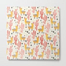 Yellow Llamas Red Cacti Metal Print