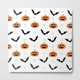 White Halloween Pattern - Pumpkins & Bats Metal Print
