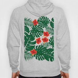 Tropical Leaves Hibiscus Flowers Hoody