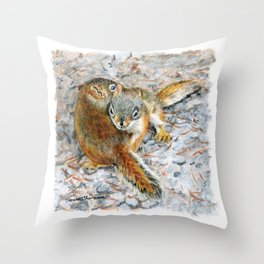 Siblings, baby red squirrels by Teresa Thompson Throw Pillow