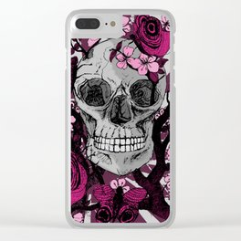Skull With Flowers Clear iPhone Case