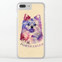 Cute Pomeranian German Spitz Clear iPhone Case