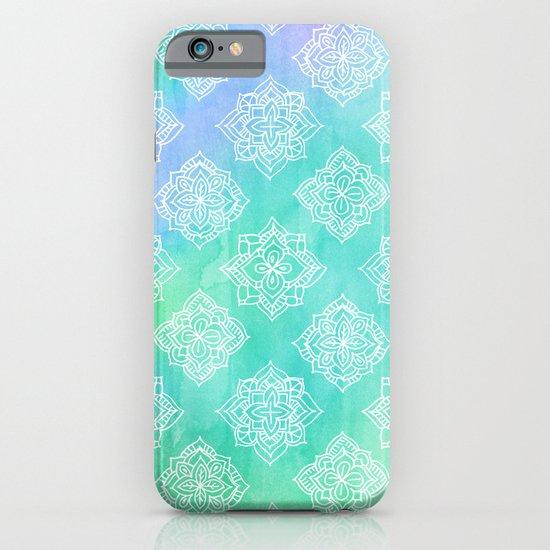 Soft Doodle Pattern in White, Purple, Mint & Aqua iPhone & iPod Case