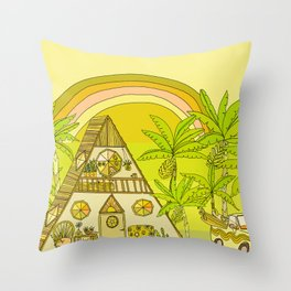 a frame simple living // banana pancakes // retro surf art by surfy birdy Throw Pillow