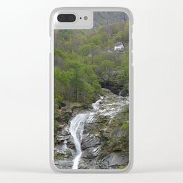 Waterfall at the Simplon Pass in the Swiss Alps Clear iPhone Case
