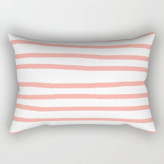 Simply Drawn Stripes Salmon Pink on White Rectangular Pillow