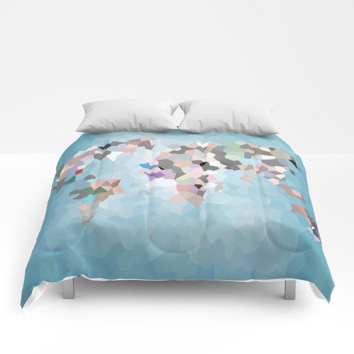Travel Map Geometric Abstract of the World Comforters
