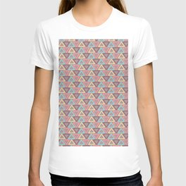 Hand painted coral teal yellow geometric tribal pattern T-shirt