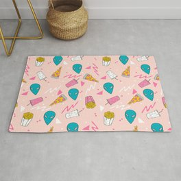 Alien outer space cute aliens french fries rad sodas pattern print pink Rug