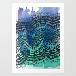 Blue Green Purple Wave Art Print
