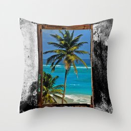 WINDOW ON PARADISE Throw Pillow