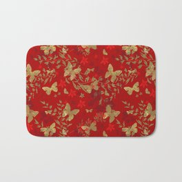 Grunge brown butterfly on a red floral background . Bath Mat