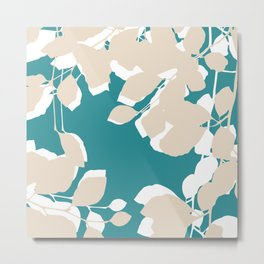 leves teal and tan Metal Print